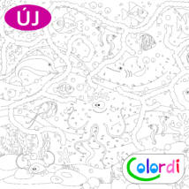 Vízi világ színező bal oldala, halak, rák, polip