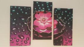 három részes vászonkép, rózsaszín tavirózsát ábrázol