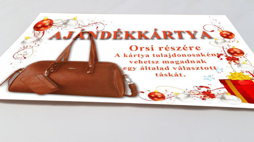 ajándékkártya egy táskáról karácsonyra