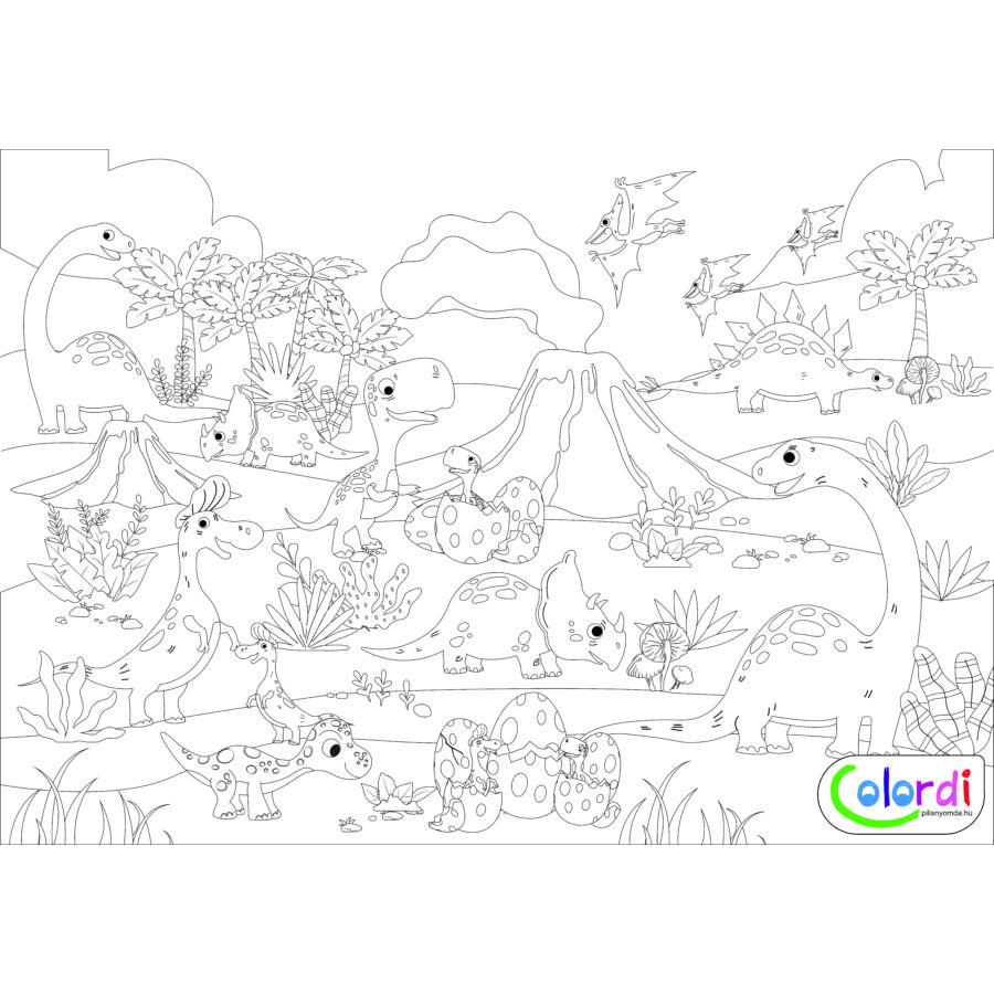 dinok, vulkánok, tojások, növények