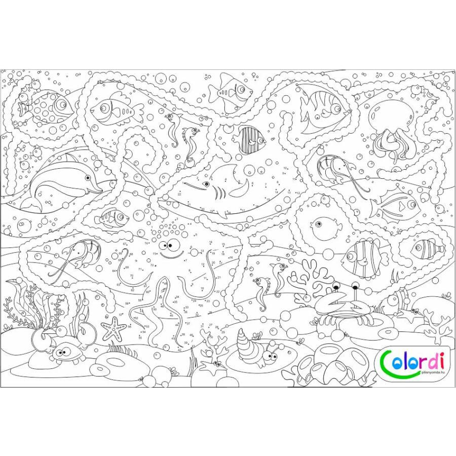 vízi világ színező teljes kép: halak, kagylók, cápa, polip, korallok, delfin