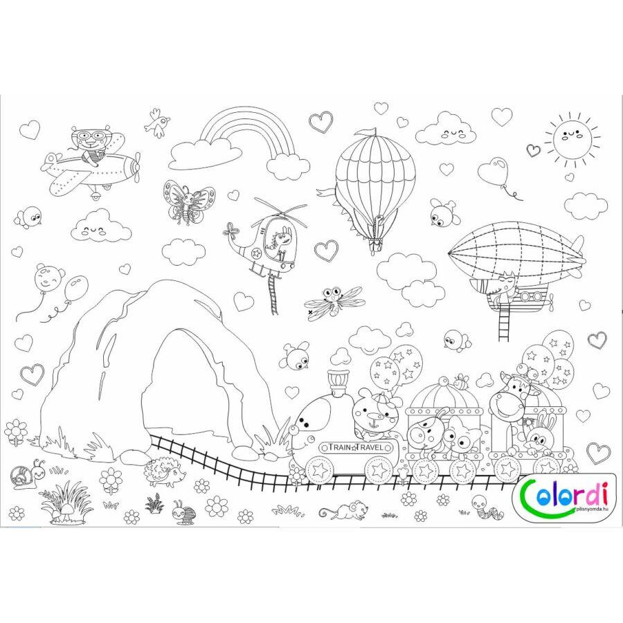 barlang, vonat állatokkal, léghajó, repülők, felhők, nap, szivárvány, bogarak, virágok