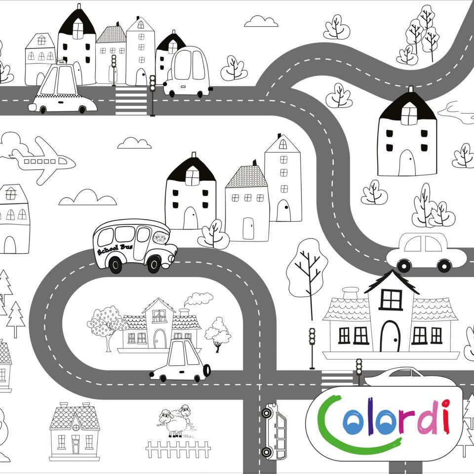 Autópálya színező bal oldala, házakkal, repülővel, taxival