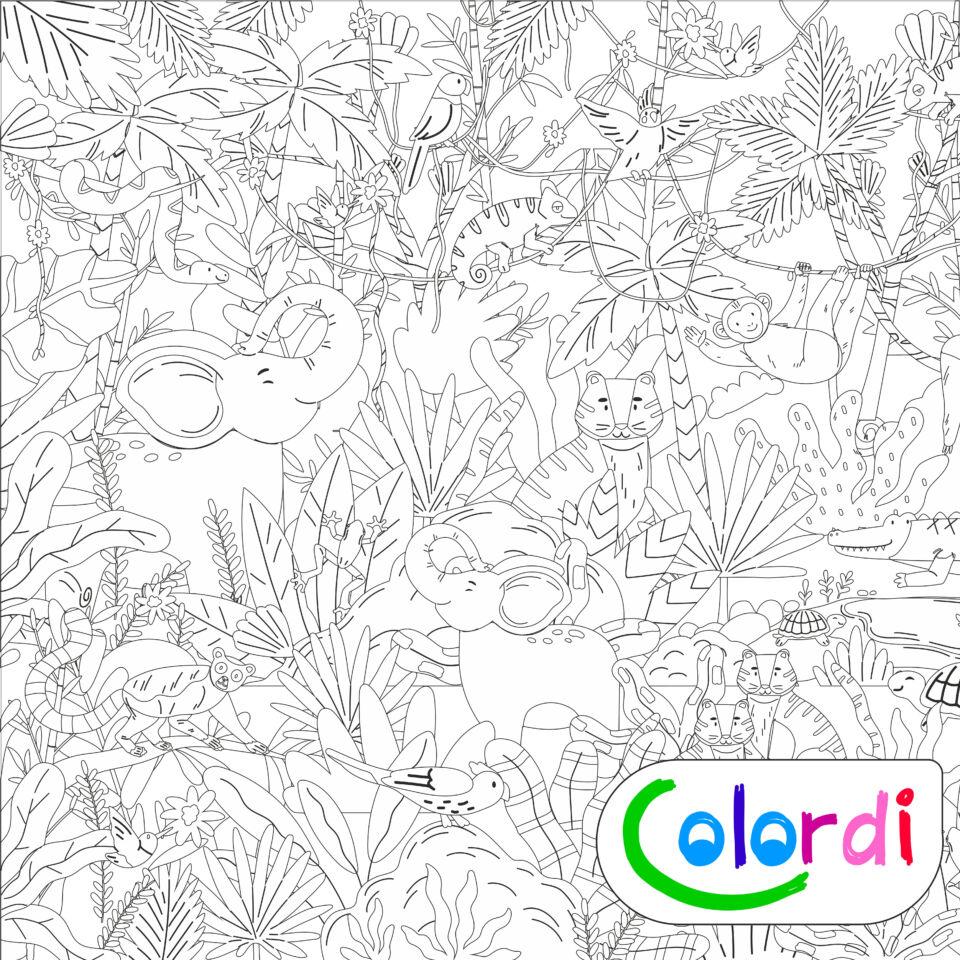 Dzsungeles Colordi lemosható óriás Újraszínező